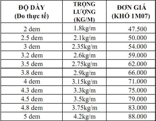Bảng báo giá tôn màu Việt Nhật