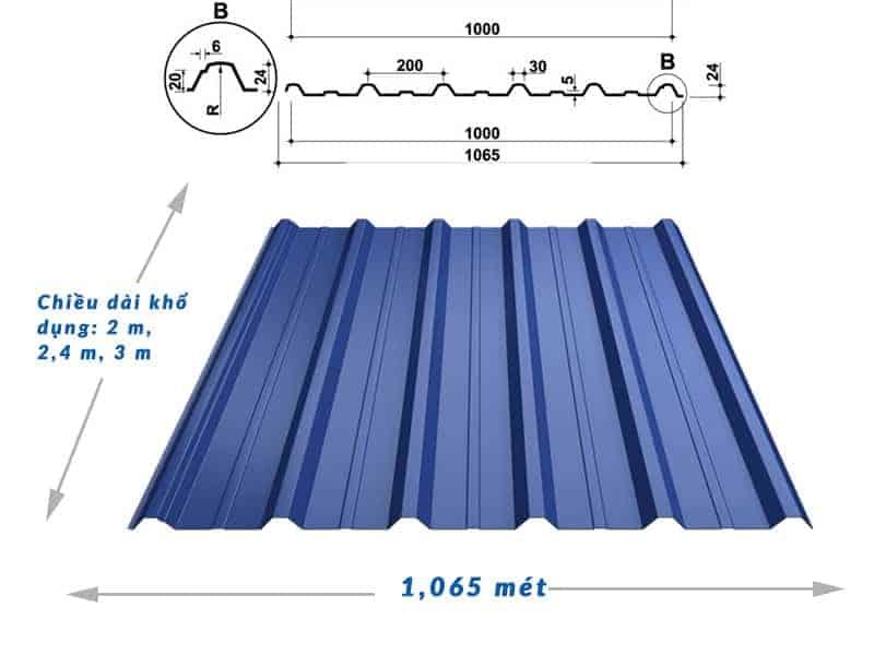 Kích thước khổ tôn tiêu chuẩn 6 sóng vuông