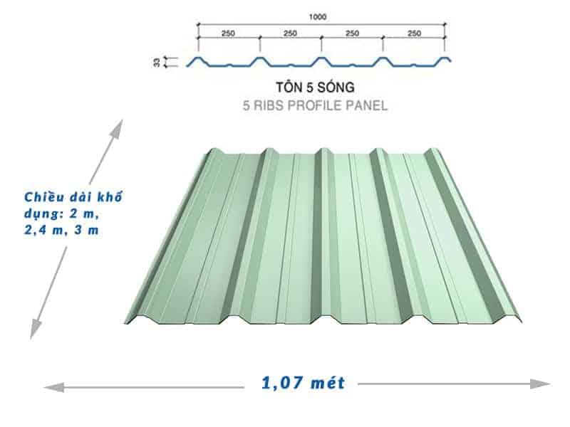 Kích thước tôn 5 sóng vuông