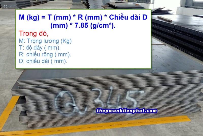 Cách tính trọng lượng thép tấm