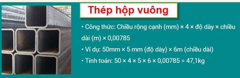 Công thức tính trọng lượng thép hình hộp vuông