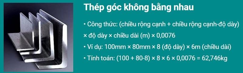Công thức tính trọng lượng thép hình L - thép v không đều cạnh