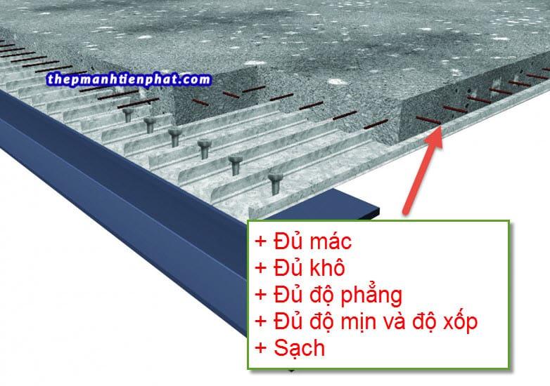 Yêu cầu độ dày tấm sán deck bê tông